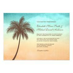 Tropical Beach Palm Tree Wedding 5x7 Custom Invitations. $2.35