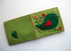 Green Needle Case Felt Organizer with Folk Art Bird Handsewn. $22,00, via Etsy.