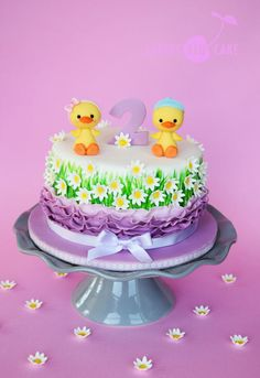 Duck Cake for Twins l by Cherry Red Cakes Owl Cake Birthday, 1st Birthday Cake For Girls, Birthday Cake Pictures, Frozen Birthday Cake, 2nd Birthday, Fondant Cakes, Cupcake Cakes, Smash Cakes, Fireman Sam Cake