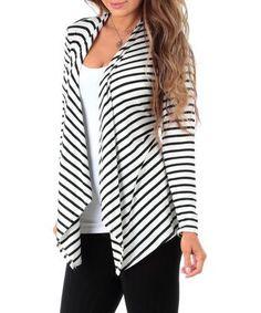 Ivory & Black Stripe Drape Open Cardigan Top