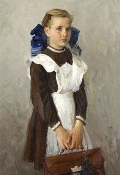 Beautiful Da Vinci Museo — Portrait of the daughter (L. Russian Painting, Russian Art, Figure Painting, Painting & Drawing, Camille Redouble, Socialist Realism, Soviet Art, Oil Portrait, Bo Bartlett