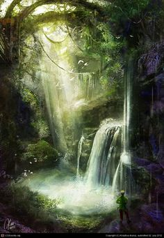 Jungle in a cave hundreds of meters underground. Fantasy Places, Fantasy World, Enchanted Kingdom, Fantasy Forest, Forest Illustration, Environment Concept Art, Fantasy Landscape, Environmental Art, Background Pictures