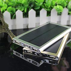 Ultradünne solar power bank 12000 mah dual usb metallgehäuse li-polymer batterie solar-ladegerät powerbank für iphone 6 s