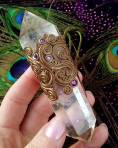 Luna Blue's Gilded Crystal Energy Wand - Bright Citrine & Purple Swarovski Crystals - Happiness, Creativity and Abundance Attraction