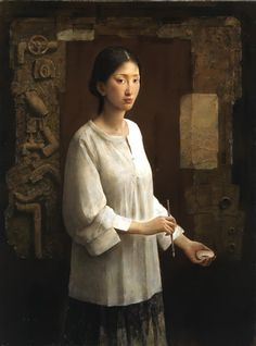 Tang Wei Min - 唐伟民 The artist is a male but he paints alluring images of Chinese women.