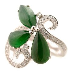 Featuring one navette shaped jadeite cabochon measuring approximately x mm, accented by two pear shaped jadeite cabochons measuring approximately x Pear Shaped, White Gold Rings, Cocktail Rings, Jade, Diamond, White Gold Wedding Rings, Diamonds