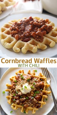 Breakfast Ideas Discover Cornbread Waffles with Chili Cornbread waffles are homemade savory waffles made with basic pantry ingredients. We love to serve them with chili on top for an easy weeknight meal! Cornbread Waffles, Savory Waffles, Pancakes And Waffles, Chili And Cornbread, Mexican Food Recipes, Beef Recipes, Cooking Recipes, Cooking Tips, Waffle Maker Recipes