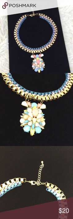 """Pastel & Gold tone Necklace A feminine mix of pastel pink, yellow, blue and peach. Adjustable length, approx 18"""" Gently used. Jewelry Necklaces"""