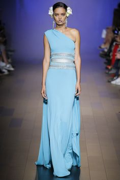 Naeem Khan Spring 2018 RTW: I love the pale blue color of this one shoulder gown!