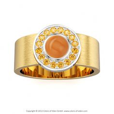 "Citrine Cabochon Watch-style Ring - ""Finale"""