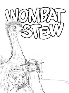 Click to see printable version of Emu Platypus and Wombat Coloring page