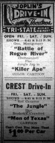 Tri-State Drive-In in Joplin, Missouri: newspaper ad