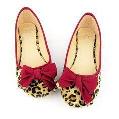 Fashion Women Lepoard Print Cute Ribbons Ballet Flats Loafers