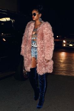 Splurge: Rihanna's New York City Ulla Johnson Pink Fur Coat and Kurt Geiger Carvela Navy Blue Velvet Thigh High Boots + Her 40/40 Club Shearling Coat and Lace Booties
