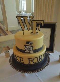 Wake forest cake! So cute!:) Wake Forest Demon Deacons, Wake Forest University, Forest Cake, Custom Cakes, Party Cakes, No Bake Cake, Food Pictures, Amazing Cakes, Cake Decorating