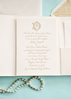 Emily McCarthy Weddings | Dallas + Brian Gold Engraved Wedding Suite Featuring Couture Monogram in Cane Paper Folder #couturemonogram #custommonogram #engraving #gold #ecru #canepaper #folder #emilymccarthyweddings | www.emilymccarthy.com