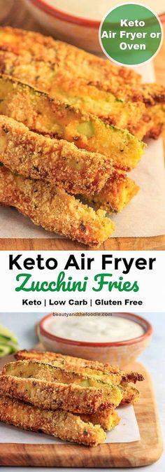 Keto Air Fryer Zucchini Fries Beauty and the Foodie Zucchini Chips, Zucchini Pommes, Bake Zucchini, Zucchini Oven Fries, Zucchini Sticks, Fast Healthy Meals, Easy Meals, Healthy Food, Healthy Dishes