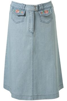 Topshop Pale Blue Denim Flower Embroidery Midi Skirt channels the 1970s midi skirts and flower power!