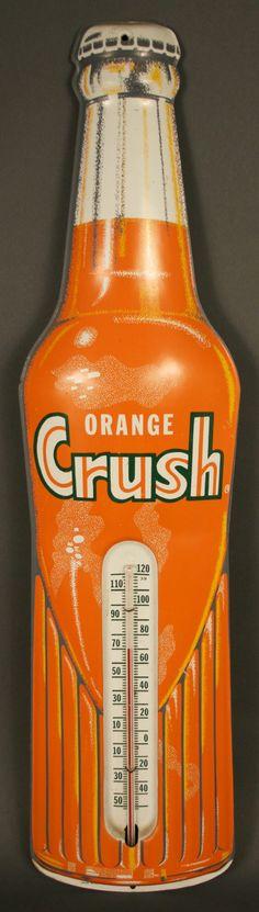 Vintage advertising  - tin Orange Crush Thermometer