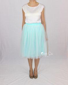 Claire Mint Green Soft Tulle Skirt - Midi - C'est Ça New York