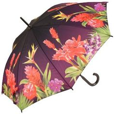 Galleria Art Print Walking Length Umbrella - Tropical Paradise