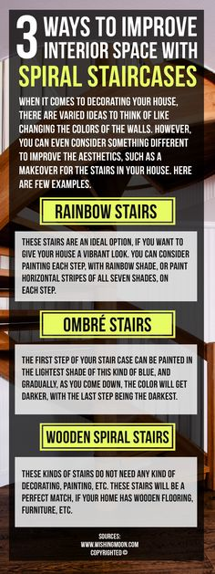 There are a few ways of improving interior space. Few examples are wooden spiral stairs, ombre stairs and rainbow stairs. One can consider painting each step, with rainbow shade, or paint horizontal stripes of all seven shades, on each step.