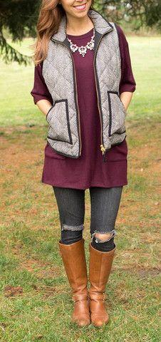 Burgundy Tunic with Pockets layered with Jcrew Vest - www.csgemsjewelry.com