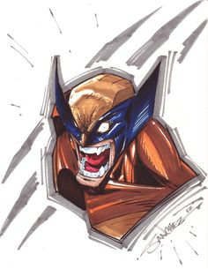 Wolverine Markers by StevenSanchez Dc Comics Vs Marvel, Marvel Heroes, Character Sketches, Art Sketches, Comic Books Art, Comic Art, Logan Wolverine, Cartoon Fan, Cool Drawings