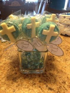 Baptism favors. I bought cross candy molds and stuck them onto Chocolate covered Oreos and added sprinkles. Super easy and delicious :)