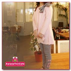 pink striped bow knot dress with leggings