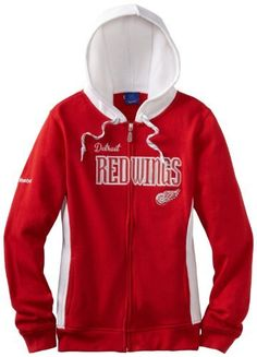 NHL Detroit Red Wings Full Zip Hoodie, Medium by Reebok. $36.23. Ladies support your team in style with this full zip team color sweatshirt from Reebok. Features twill applique team graphics with contrast color zig zag stitching, contrast color side insets, skate lace hood drawstrings, embroidered Reebok branding on right sleeve, on-seam pockets, and a rubber NHL zipper pull. Made of 60% cotton/40% polyester. Officially licensed by the NHL.