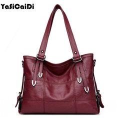 YASICAIDI Patchwork Women Casual Shoulder Bag High Quality Black Pu Leather original Handbag Vintage Stitching…