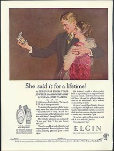 She said it for a lifetime! Elgin Watch ad 1926 Norman Rockwell art