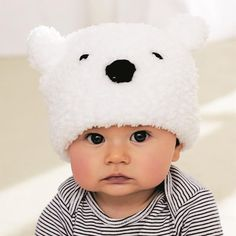 Crochet Stuff Bears Patterns Bernat® Pipsqueak™ L'il Polar Bear Hat (Knit) - Your little one will look so adorable sporting this tiny polar bear knit hat!