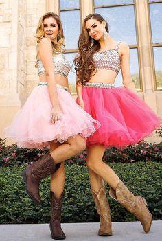 Two Piece Prom Dress Beaded Short Top Mesh Skirt