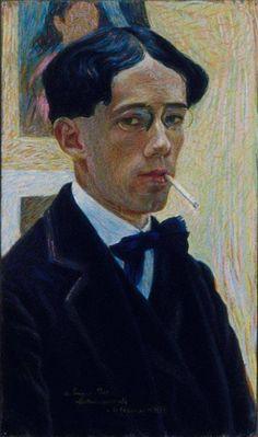GINO SEVERINI (Cortona, 7 aprile 1883 – Parigi, 26 febbraio 1966) Self-Portrait 1909  #TuscanyAgriturismoGiratola