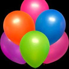 Neon glow black light balloons