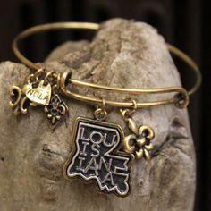 Louisiana Adjustable Bangle Bracelet by LisaDevlinDesigns on Etsy www.LisaDevlinDesigns.com