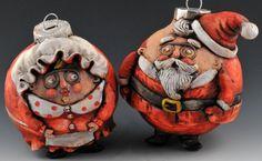 Mr & Mrs Claus Vintage Style Ornament Pair by uncommoncreatures.