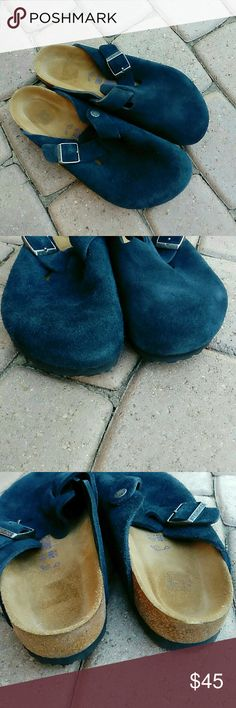 Birkenstock blue suede mule clogs size 41 Birkenstock blue suede mule clogs size 41. Fits a size 10 to 10.5 good condition. Clean on the inside. Some wear and discoloration at front toe area as shown in pics. The suede on one shoe appears to be a little more worn and fuzzy than the other. Otherwise great condition. Birkenstock Shoes