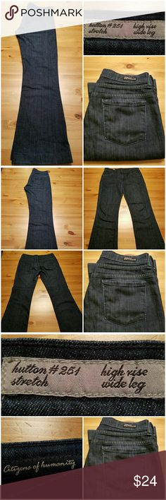 """Citizens of Humanity Hutton Wide Leg Trouser Jean High rise, wide leg, flared bootcut trouser jean from Citizens of Humanity in size 29. Hutton #251 in super dark rinse, stretch high rise, wide leg jeans. Cotton/elastene blend. Excellent condition. 39"""" length, 30"""" inseam, 15"""" across waist, 9"""" rise. Citizens of Humanity Jeans Flare & Wide Leg"""