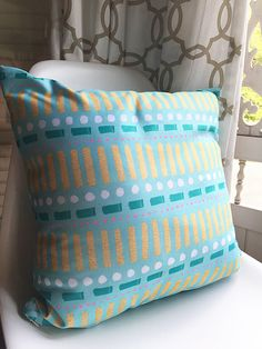 Turquoise, Pink and Gold Pattern Pillow, 18x18 inches Decorative Throw Pillow, Comfy Cushion, Geometric Pillow, Teal Accent Pillow Cushion