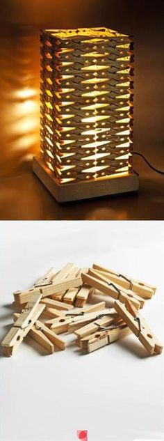 DIY lamp with clothes pegs Popsicle Stick Crafts, Craft Stick Crafts, Diy And Crafts, Diy Home Decor Rustic, Deco Luminaire, Ideias Diy, Wooden Lamp, Led Lampe, Recycled Crafts
