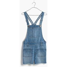 MADEWELL Adirondack Short Overalls in Isley Wash ($118) ❤ liked on Polyvore featuring jumpsuits, isley wash, blue overalls, madewell overalls, distressed overalls, bib overalls and short overalls