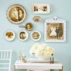 Decopage old photos on antique dinnerware... Maybe not quite as literal as in this photo, but I like the general idea