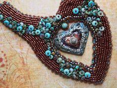 Raku Turquoise Bohemian Neckpiece Beaded Embroidery Collar Wearable Art Ethnic Necklace by BrisingBeadsDesigns on Etsy https://www.etsy.com/listing/260318820/raku-turquoise-bohemian-neckpiece-beaded