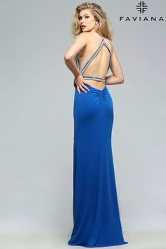 Jersey v-neck with beaded bodice #Faviana Style S7807 #PromDresses
