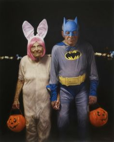 TRICK or TREAT / American artist Jason Bard Yarmosky, a graduate of the School of Visual Arts, is best known for his series of paintings, Elder Kinder. These works juxtapose youth with old age, and explore the social connotations of aging. Vieux Couples, Old Couples, Cute Couples, Romantic Couples, Growing Old Together, Old Folks, Batman, Poster Design, American Artists
