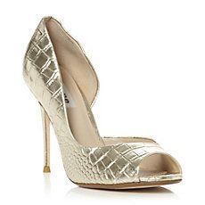 DELUXE - Metallic Croc Dorsay Peep Toe Court Shoe
