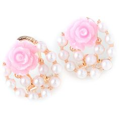 Faux Pearl Floral Rose Earrings ($1.70) ❤ liked on Polyvore featuring jewelry, earrings, floral jewelry, rose jewellery, rose jewelry, fake pearl jewelry and earring jewelry